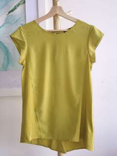 Mango Lime Green Knit Chiffon Tank Top with Back Zipper embellishment Size S