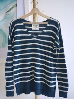 Abercrombie & Fitch turquoise blue striped ribbed sweater jumper size XS