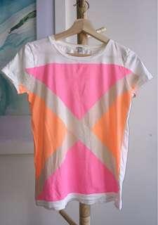 J crew fluoro pink and orange cross T-shirt size xxs