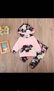 Flower long sleeved hoodie pants set infant baby girl newborn toddler kid