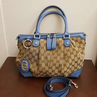 GUCCI Monogram Signature with Blue Leather Boston Shoulder Bag