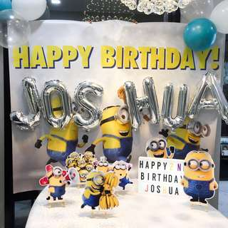 Minions Party Decor Banner & Decor Props for Dessert Table for Rent Rental