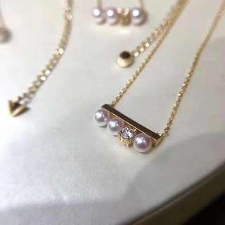 夏日露肩必備!18K金鑽石💎13分一粒 Akoya 珍珠鎖骨鏈
