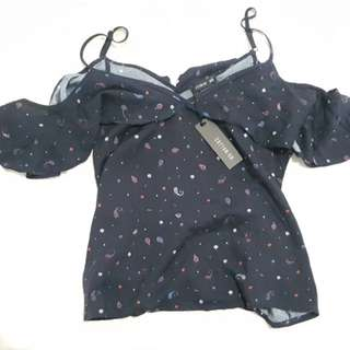 Cotton On Top off shoulders NAVY BLUE new with tags