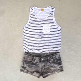 Top & Denim Shorts