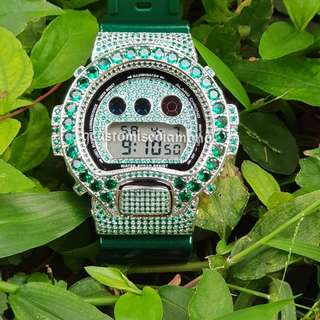Customise green hulk green diamond gshock,ready to be on your wrist(Please visit Instagram #gcustomisediamond# to view live video of watch)