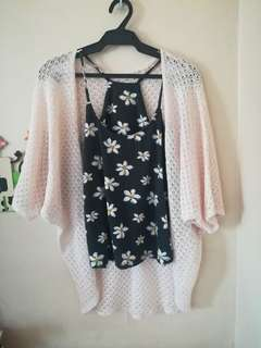 Halter top with knitted cover up