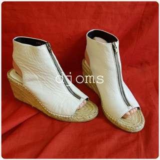SZ 37 6.5 CELINE WHITE ESPADRILLE WEDGE PEEP TOE SHOES Sandals