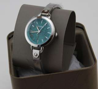 Authentic fossil silver green bracelet watch