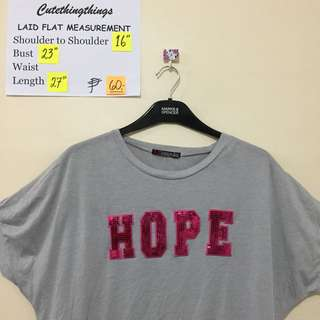 "Gray Bat Sleeved Top with Fuscia ""Hope"" Sequins"