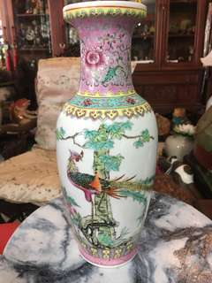 1970s Jingdezen Phoenix With Flowers Vase