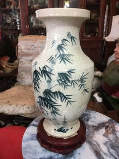 1960s Semi Antique Crackled Vase