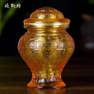 密宗摆件古法琉璃财神宝瓶八吉祥宝瓶