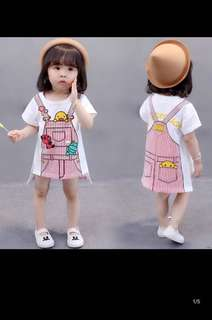 Female baby dress girls short-sleeved T-shirt skirt baby cotton princess skirt
