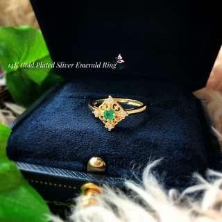天然祖母綠鍍金純銀復古風格戒指