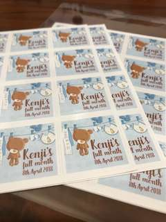 Baby full month shower stickers labels customised