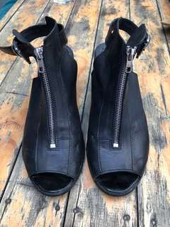 Topshop black leather heels