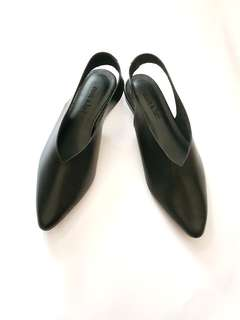 Annie and Lori Black Leather Flats (NEW)