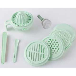 【Ready Stock】9 + 1pcs Baby Food Grinder Processor Set (Food Maker)