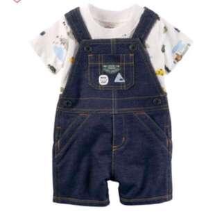*9M* BN Carter's 2-Piece Top & Shortalls Set For Baby Boy