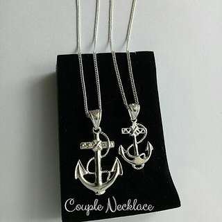 Authentic 92.5 Italy silver couple anchor necklace