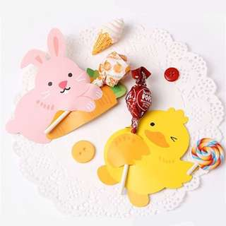 10pcs Animal Lollipop Holder Card/ Cute Candy Paper/ Kids Goodie Bag Gift