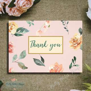 Handcrafted Watercolour Floral Card - Thank you