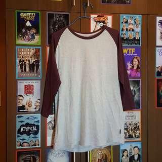 Cotton On Maroon Baseball Long-Sleeved Shirt