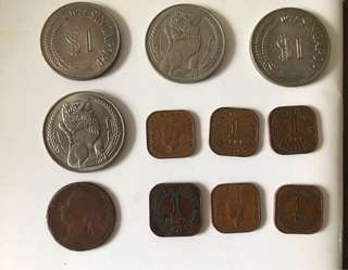 Old Coins - Rare straits settlement and 1972 old $1 coins