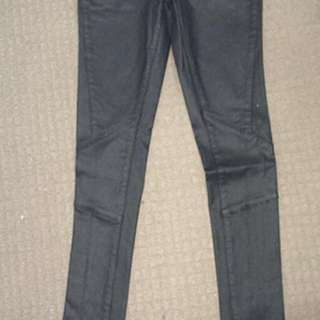 Black leather effect pants, size 8