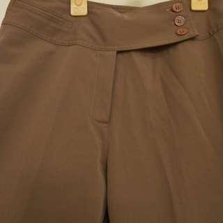 🚚 《八成新》棕色高腰素面淑女直筒長褲S號