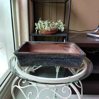 Glazed blue bonsai pot