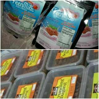 Kombo set susu strawberi & serunding daging dan ayam