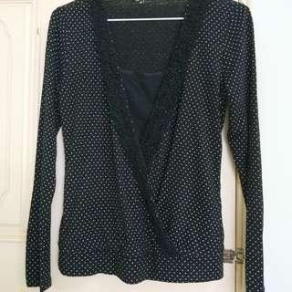 🚚 《MH6i》 全新日系黑底白點假兩件長袖針織羊毛上衣