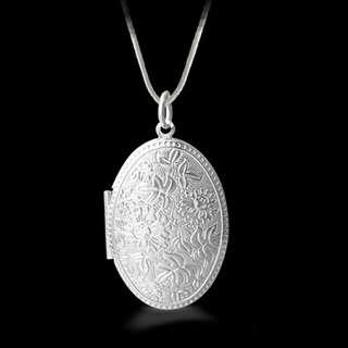 Floral Carving Locket pendant Necklace