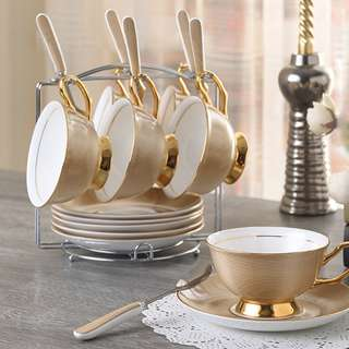Blossom 28 Stripe Porcelain Cup Set with Cup Rack CI02512