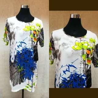 BKK leaves printed loose dress