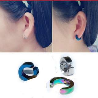 Glossy Men Punk Hoop Non Piercing Clip On Ear Cuff Earrings