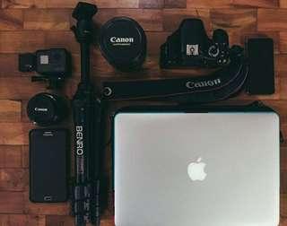 Dslr body, lens, tripod, camera sling ( canon 1.8mm, 24-105mm, 18-55mm lenses)