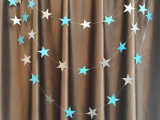4m blue & silver star garland