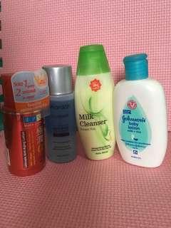 hadalabo + wardah eye and lip remover + body lotion + milk cleanser greentea 1 paket