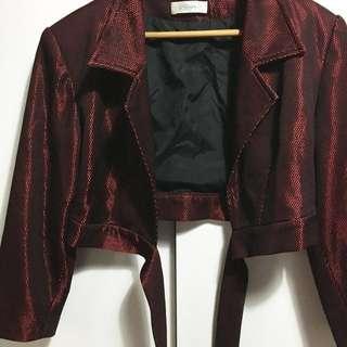古著 特殊網格短綁帶深紅外套
