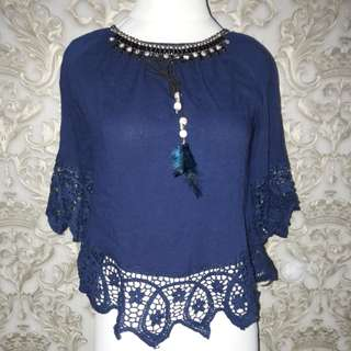 Blue sabrina blouse