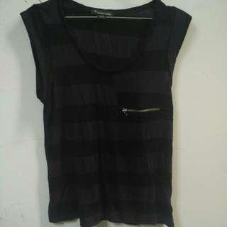 FOREVER21 Stripe Vest (Black Purple)