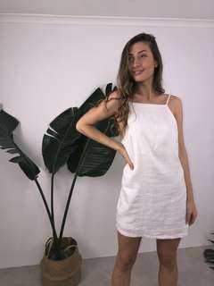 Linen shift dress with semi low back