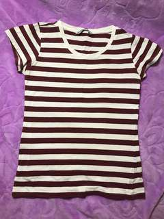 Burgundy strip shirt