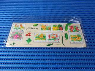 4X Singapore Miniature Sheet Flowers Stamps