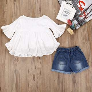 (Preorder) Girl white dress with short