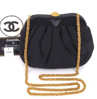VINTAGE CHANEL GATHERED SATIN BIJOUX CHAIN MINI SHOULDER BAG