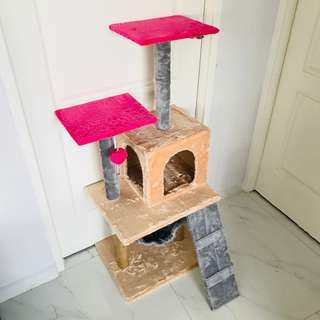 cat condo tree scratch post pole toy kitten